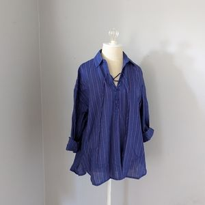 NWT Free People Lace Up Tunic Purple Stripe